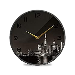 ALUONI Round Wall Clock, New York City Downtown Skyline at Night Panorama Over River Vintage Wall Clocks Battery Operated Kitchen/Home/School Patio Decor 11.9 No65215