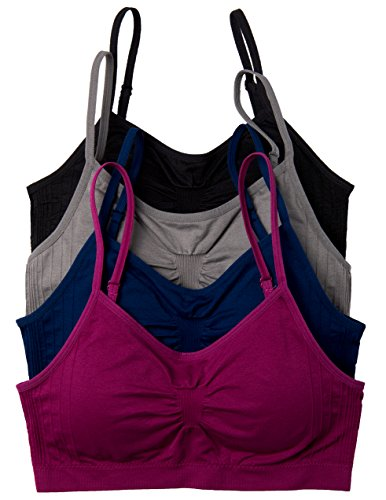 4 Pack Kalon Comfort Bras (One Size S/M, Black/Charcoal/Navy/Maroon)