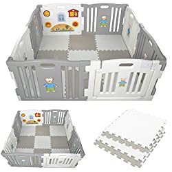 Millhouse Plastic Baby Playpen 8 Sides with Activity Panel WITH Grey and White PLAYMATS / 9 Play Mats Included (Individual Size: 49 x 49 x 1 cm / Total Play Mats Size: 148 x 148 x 1 cm) / Suitable age range: 6 – 24 months Playpen with 8 Panels (Inclu...
