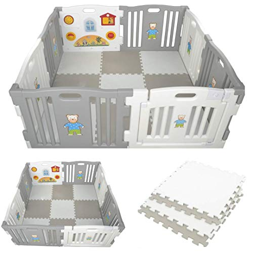 Millhouse Plastic Baby Playpen with Activity Panel with Play Mats Included