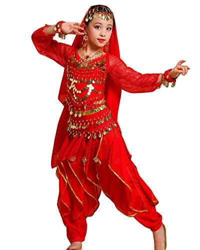 Guiran Kinder Mädchens Damen Faschings-Kostüm Indische Bauchtänzerin Kostüme Rot M Höhengeeignet 101-120CM