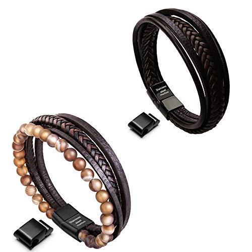 Murtoo Bead Leather Bracelet and Braided Leather Bracelet for Men