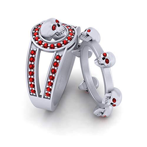 Juego de anillos de compromiso con calavera de diamante rojo de 0,45 quilates para parejas, oro blanco sólido de 14 quilates, anillo de calavera para él y ella