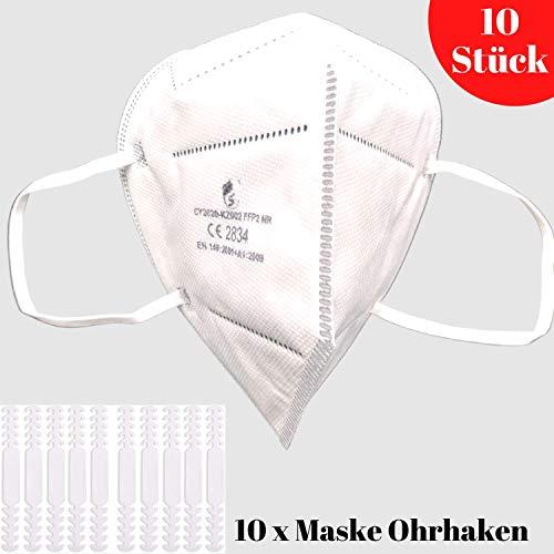 10 Stück FFP2 Atemschutzmaske Staubmaske Atemmaske- EU CE Zertifiziert von Offiziell benannter Stelle CE2834-5-lagige Staubschutzmaske Mundschutzmaske 10 Stück - 3