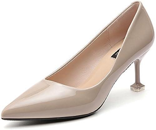 AJUNR Femmes Loisirs été Mode des Chaussures Le Cuir Bright 8cm de Talons avec Une Pointe Fine l'occupation Travail Bouche Peu Profondes des Chaussures l'abricot