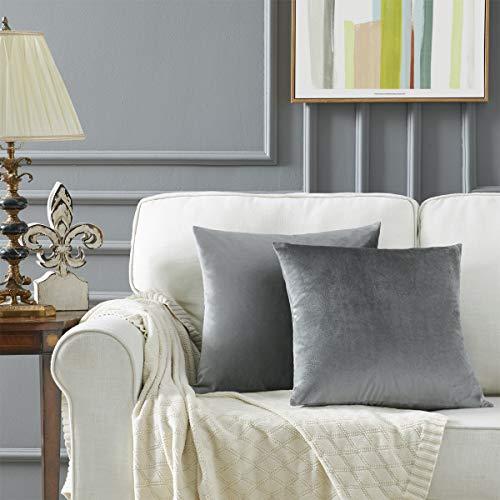 Gigizaza Gris Oscuro Terciopelo Almohada Cubre Caso Suave decoración Fundas de de cojín para sofá Dormitorio Coche Cama Casa Decor 50x50cm ,Pack de 2
