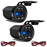 2-Pack 3.1A Dual USB Car Charger Socket, 12V/24V Waterproof Power Outlet Fast Charge, for Car Boat Marine...