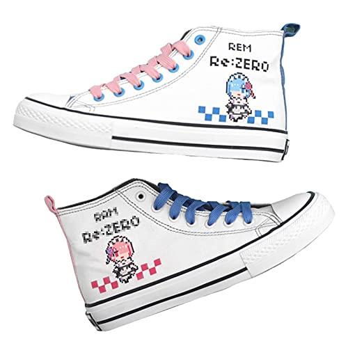 NBAOK Re: La Vida en un Mundo Diferente de Zero Rem Anime Zapatos Casuales Zapatos con Cordones de Pato mandarín Tapas Altas Zapatos Acolchados en el Tobillo Senderismo Zapatillas de Fitness