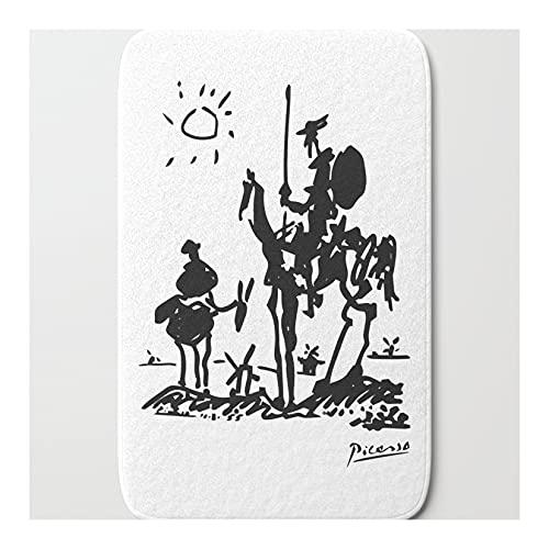 Alfombra de baño Don Quijote 1955 camisa de ilustraciones, alfombra de reproducción para baño, alfombra de baño absorbente antideslizante 40 x 60 cm