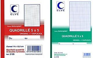 ELVE 22382 Manifold Autocopiant Imprimés 105x148mm 5x5 Mm Foliotage 50 Duplis Assorties