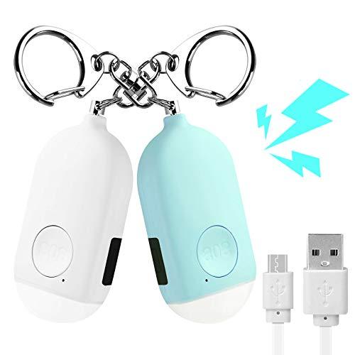 2 Pack Taschenalarm Safesound Personal Alarm Sirene 130dB USB Wiederaufladbare Notfallalarm Sicherung Persönliche Schutzgeräte mit LED Taschenlampe für Frauen, Mädchen, Kinder und ältere Menschen