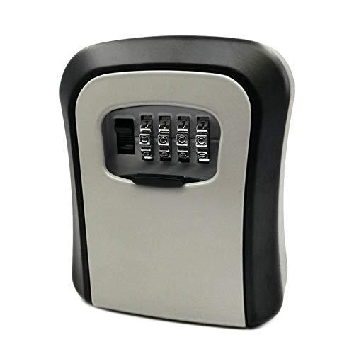 Adaskala Caja con cerradura de llave Montaje en pared Aleación de aluminio Combinación de 4 dígitos Caja de seguridad impermeable Caja de seguridad con llave Almacenamiento portátil para la tarjeta de