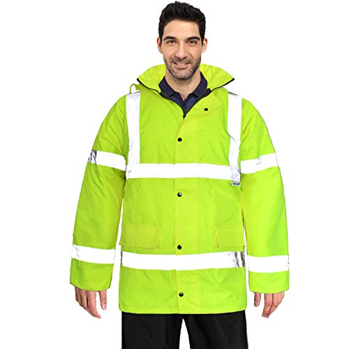 FWG High Visibility Safety Bomber Jacket for Men Women Waterproof Insulated Workwear Parka (Large, Fluorescent)