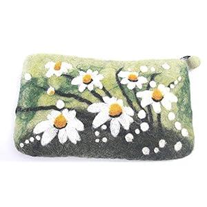 feelz – Filztäschchen Margariten, Täschchen aus Filz Blumen, kleiner Geldbeutel, Geschenk Mädchen Frau – Fairtrade