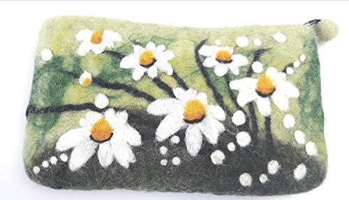 feelz - Filztäschchen Margariten, Täschchen aus Filz Blumen, kleiner Geldbeutel, Geschenk Mädchen Frau - Fairtrade