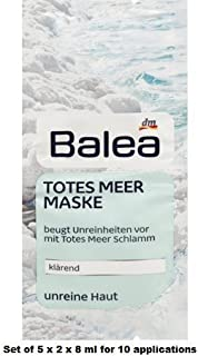 Balea Dead Sea Mask - 5 Packs of 2 x 8ml each (for 10 Applications)