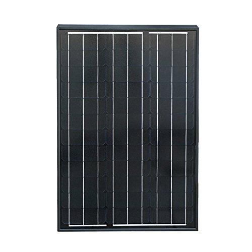 ECO-WORTHY 50W Negro Monocristalino Panel Solar Fotovoltaico Módulo fotovoltaico para recarga de 12 voltios ...