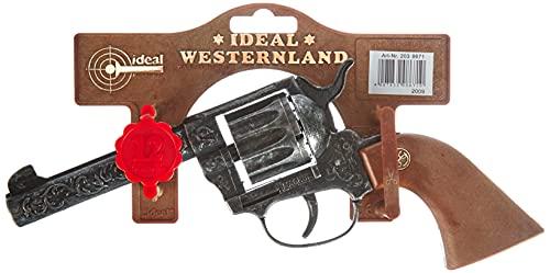 Schrödel J.G. 2038671 Magnum antik Spielzeugpistole oder Cowboy-Revolver aus Zink und Kunststoff für Zündplättchen-Munition, 12 Schuss, 22 cm, grau / silber (203 8671)