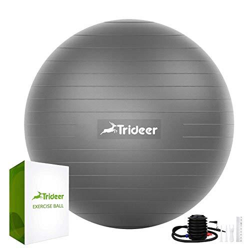 Trideer Gymnastikball (45-85 cm), extra dicker Yoga-Ballstuhl, bruchsicher, strapazierfähig, mit Schnellpumpe (Büro & Zuhause & Fitnessstudio), Silver New B, 65cm
