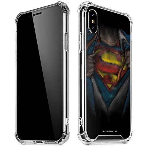 Skinit Clear Phone Case for iPhone Xs Max - Officially Licensed Warner Bros Superman Chalk Design
