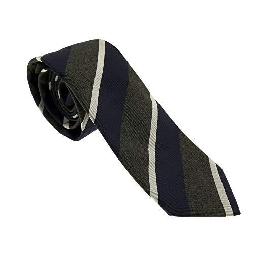 Corbata 10 Neckwear 100% seda Made in Italy 8 cm Color Verde y Azul Diseño Rayas Tejido Italiano