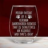 Divertido vaso de vino alemán de pelo corto con puntero GSP sin tallos para mamá, papá, perro, propietario, amante de mamá, copa de vino de 470 ml