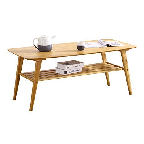 kerryshop mesas de Centro Centro de bambú Natural Mesa de Doble Capa Tabla Mesa de Final de la Sala Mesa Lateral Bajo Rack de Almacenamiento de Muebles y decoración mesas (Color : Natural)