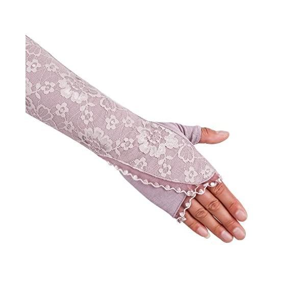 JISEN Women Long Sunscreen Gloves Lace Floral Half Finger Outdoor Arm Sleeves