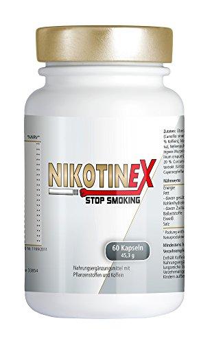 NIKOTINEX pastillas para dejar de fumar | remedio natural con extracto de té verde, guaraná, mangostan, polvo de raíz de maca | ayuda eficaz síntomas abstinencia a la nicotina | 60 cápsulas