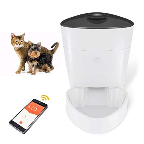 Automatischer Futterspender für Hunde und Katzen, WLAN-Fi-Spender mit Futternapf, programmierbarer Timer für bis zu 8 Mahlzeiten pro Tag, intelligente Futterstation für Haustiere per Telefon gesteuert