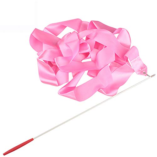 Ogquaton 1 Stück 4 Meter Rhythmische Gymnastik Tanz Bänder, Tänzer Bänder mit Wirbelnden Stäbe für Kinder Tanzen(rosa)