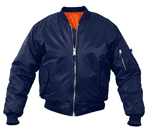 Rothco MA-1 Flight Jacket, L, Navy Blue