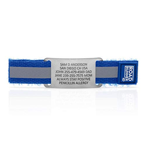 Road Runner ID Shoe Tag - Emergency ID for Runners, Athletes, Travelers and Kids - Blue