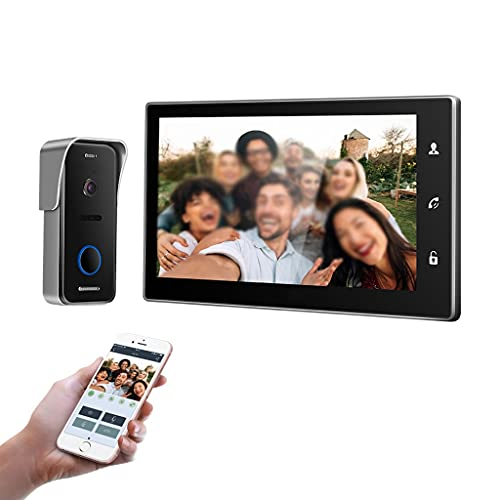 SMLJLQ 10 Inch Wireless WiFi Smart IP Video Doorbell Intercom System,1xTouch Screen Monitor with 1x720P Wired Door Phone Camera