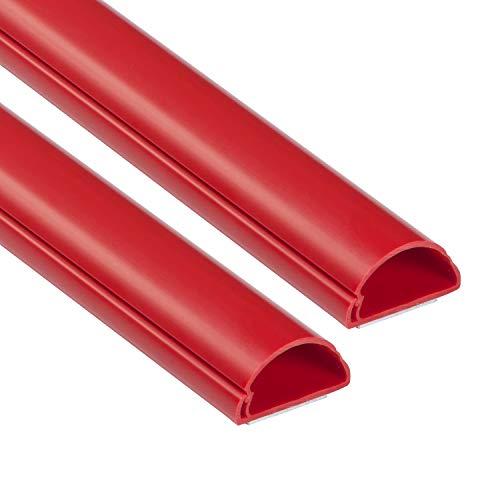 D-Line Mini Cable Trunk 2 Metros Decorativo Autoadhesivo Cable Cubierta Popular Solución de Gestión de Cable de 30 mm (ancho) x 15 mm (alto) - 2 x 1 metro de longitud, color rojo