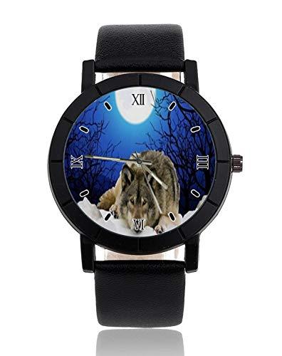 The Watcher Reloj de Pulsera con diseño de Lobo, Correa de Piel, Reloj de Vestir Casual para Hombre