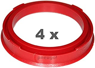 4 x Zentrierringe, Kunststoff 73.1mm auf 57.1mm rot