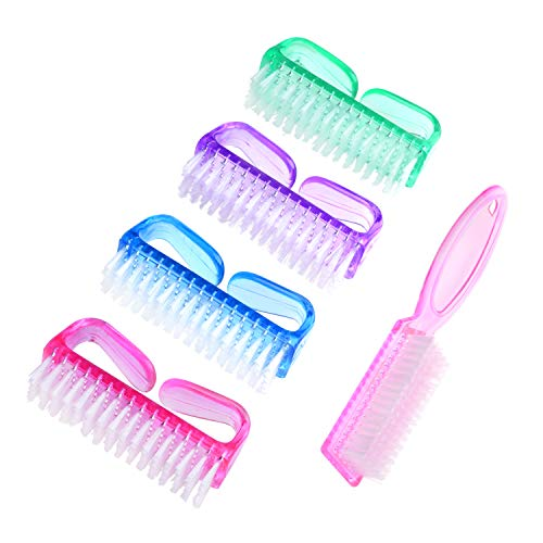 Handle Grip Nail Brush, 4 Pieces Hand Fingernail Scrub Cleaning Brushes Kit with 1 Piece Pedicure Brush for Toes and Nails Cleaner Men Women