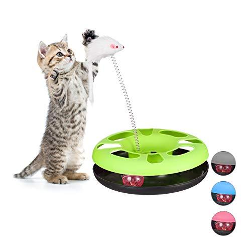 Relaxdays gioco per gatti con topo, percorso per pallina con sonaglio, istinto alla caccia e al gioco, verde