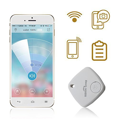 Sidiou Group Mini Bluetooth-Verfolger Kind-Beutel-Mappe Alarm Anti-verlorene Tracker Pet Key Smartfinder GPS Locator Alarm für Android IOS (weiß)
