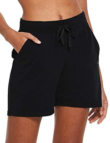 BALEAF Women's 5' Lightweight Jersey Cotton Yoga Pocketed Lounge Walking Shorts Pajama Activewear Beach Shorts Black Size XXL