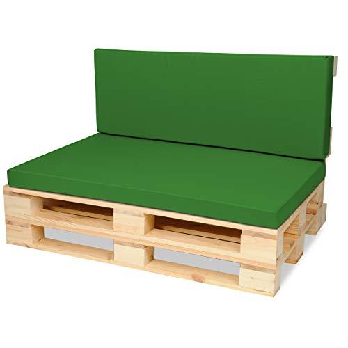 SuperKissen24. Materasso Cuscino per Bancale Divano Pallet 120x80 con Schienale 120x40 cm Seduta Impermeabile e Comodo per Divanetti da Esterno - Verde