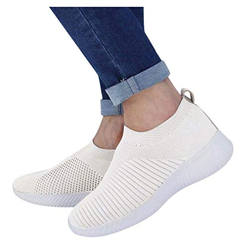 Walking Shoes for Women Slip ons Gibobby Womens Comfort Elastic Sock Slip On Walking Shoes Lightweight Non-Slip Breathable White