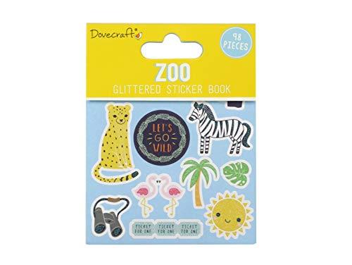 Dovecraft Book-Zoo-96 Adesivi Glitterati per Artigianato, cancelleria, diario, Carta, Multicolore, Taglia Unica