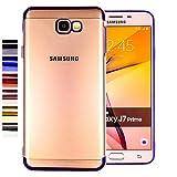 COOVY® Cover für Samsung Galaxy J7 Prime SM-G610Y /Duos SM-G610F / DS / On7 leichtes, ultradünnes TPU Silikon Bumper Hülle, transparent, Chrom Rahmen | Farbe blau