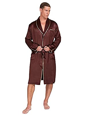 MYK 22 Momme 100% Pure Mulberry Silk Men's Lightweight Kimono Style Spa and Lounge Robe with Gift Box