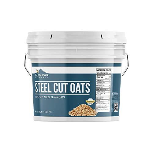 Steel Cut Oats, 1 Gallon Bucket (6 LBS) by Earthborn Elements, Also Called Irish Oatmeal, High Quality Breakfast, Resealable Bucket