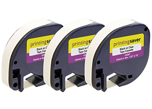 3 Rollen LetraTag S0721550 12267 12mm x 4m Schwarz auf Transparent Etikettenband Kunststoff kompatibel für DYMO LetraTag LT-100H LT-100T LT-110T QX50 XR XM 2000 Plus