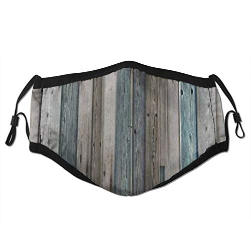 TARTINY Rustikales Bild von blau grau Grunge Holzplanken Scheune Haus Türnägel Landleben Thema drucken wiederverwendbarer Mund Warmes winddichtes Baumwollgesicht