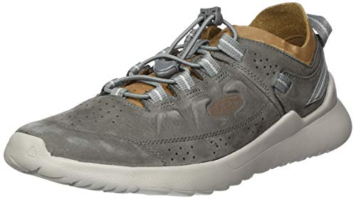 KEEN unisex adult Highland Leather Casual Sneaker, Steel Grey/Drizzle, 10.5 US